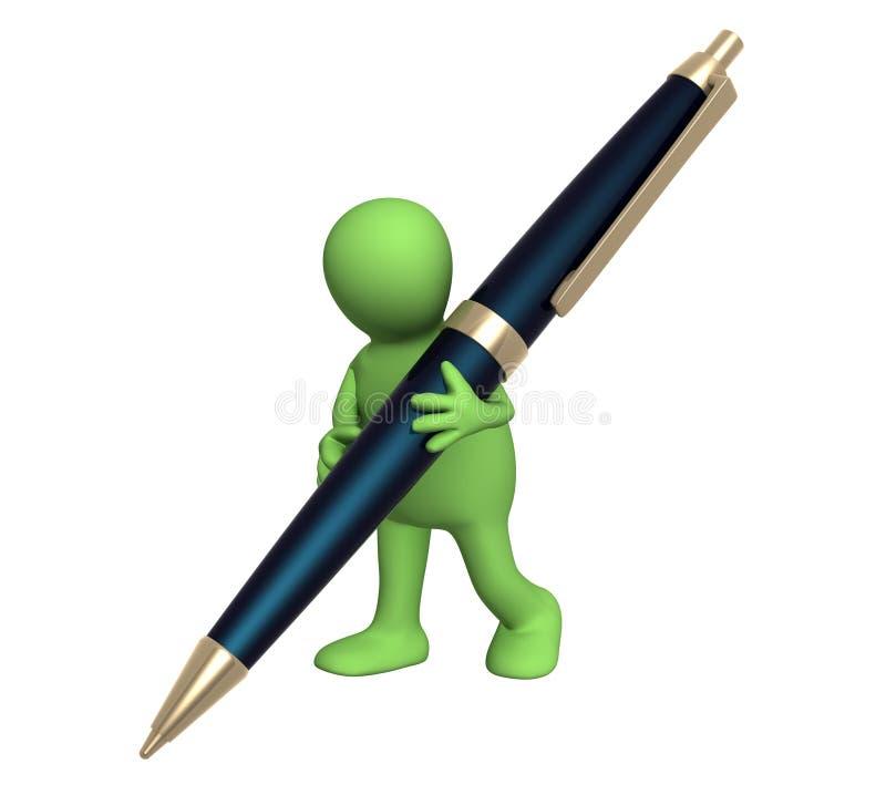3d marionet met een pen