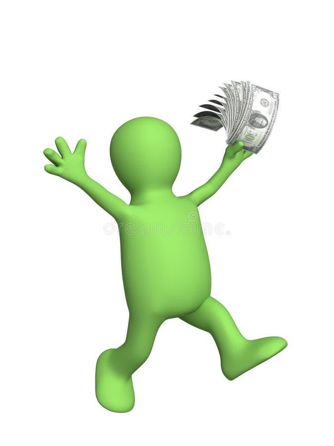 3d marionet met geld in een hand vector illustratie