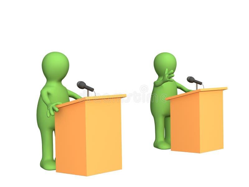 3d marionetten, deelnemend politiek debat stock illustratie