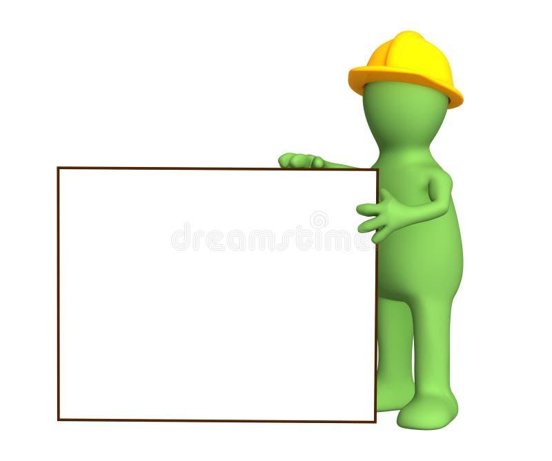 3d marionettenbouwer met leeg frame stock illustratie