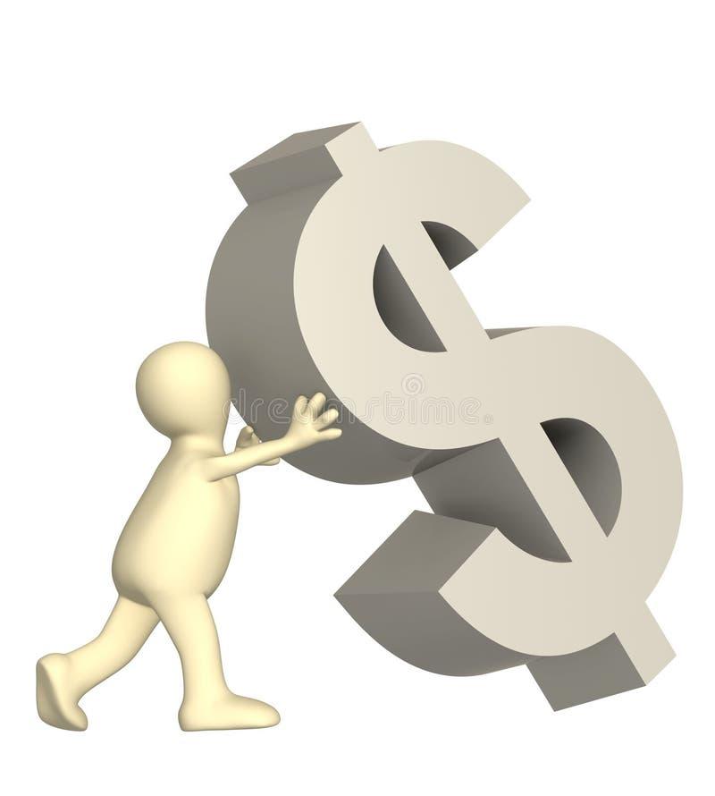 3d marionnette, symbole en baisse supportant de dollar
