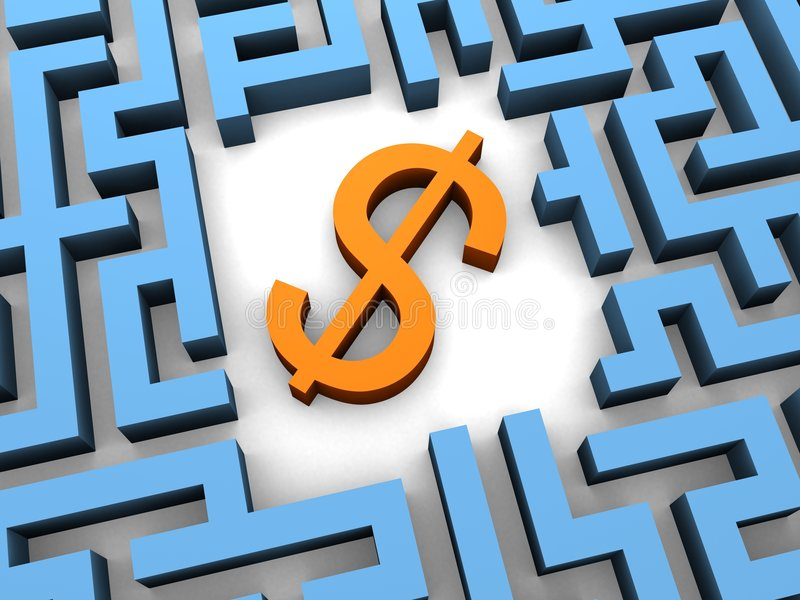 3d maze with a dollar sign stock illustration