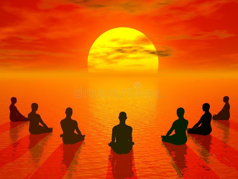 3D meditatie van de zonsondergang - geef terug stock illustratie