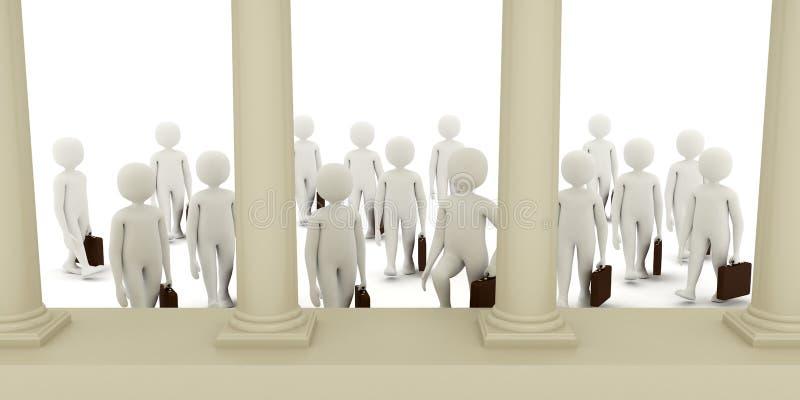 3d men going to bank vector illustration