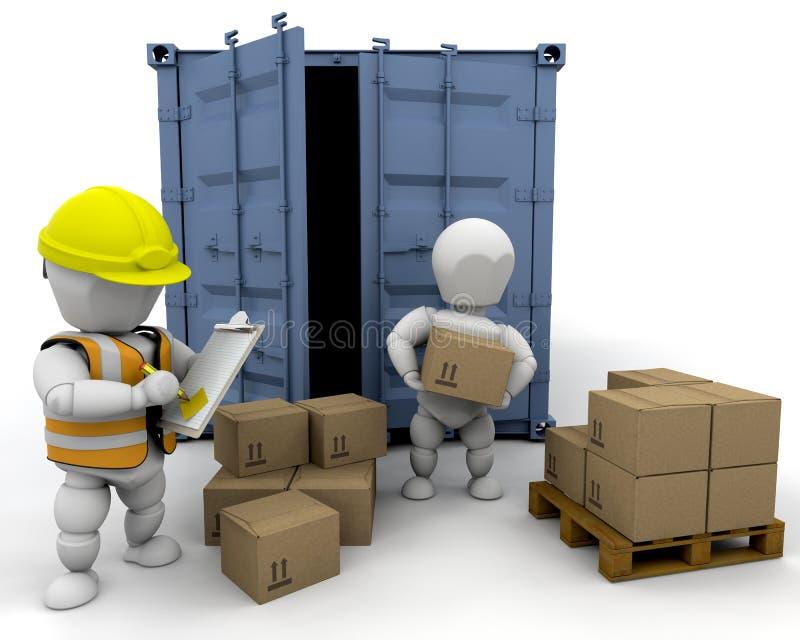 3D men handling materials. Into a bunker isolated vector illustration
