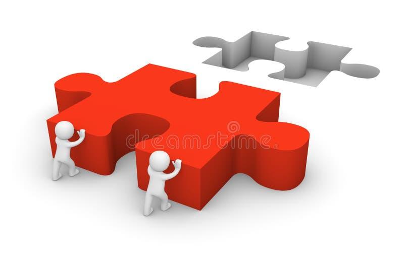 3d men pushing puzzle piece vector illustration