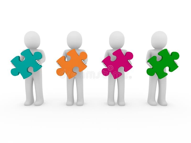 Download 3d men puzzle teamwork stock illustration. Illustration of abstract - 18740348