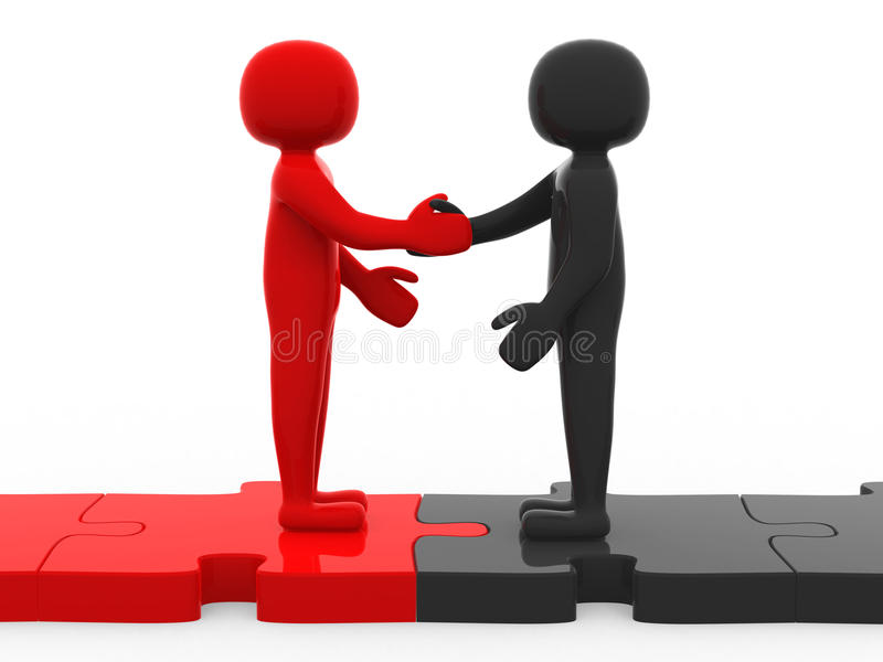 3d men shaking hands on puzzle pieces royalty free illustration