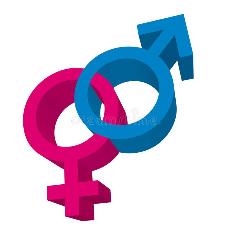 3d men and women signs vector illustration