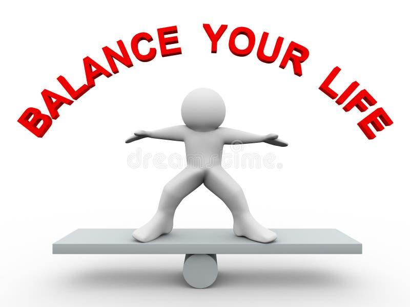 3d mens - breng uw leven in evenwicht royalty-vrije illustratie