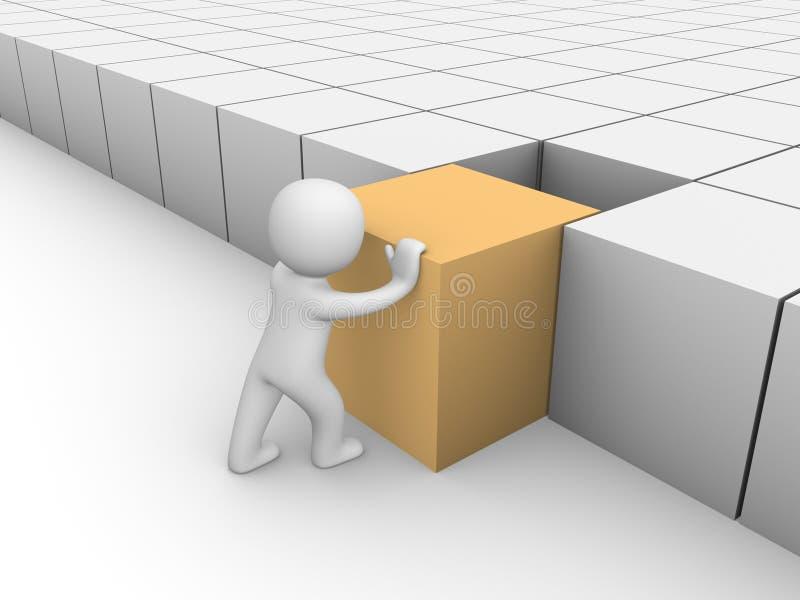 3d mens die 3d kubus duwt royalty-vrije illustratie