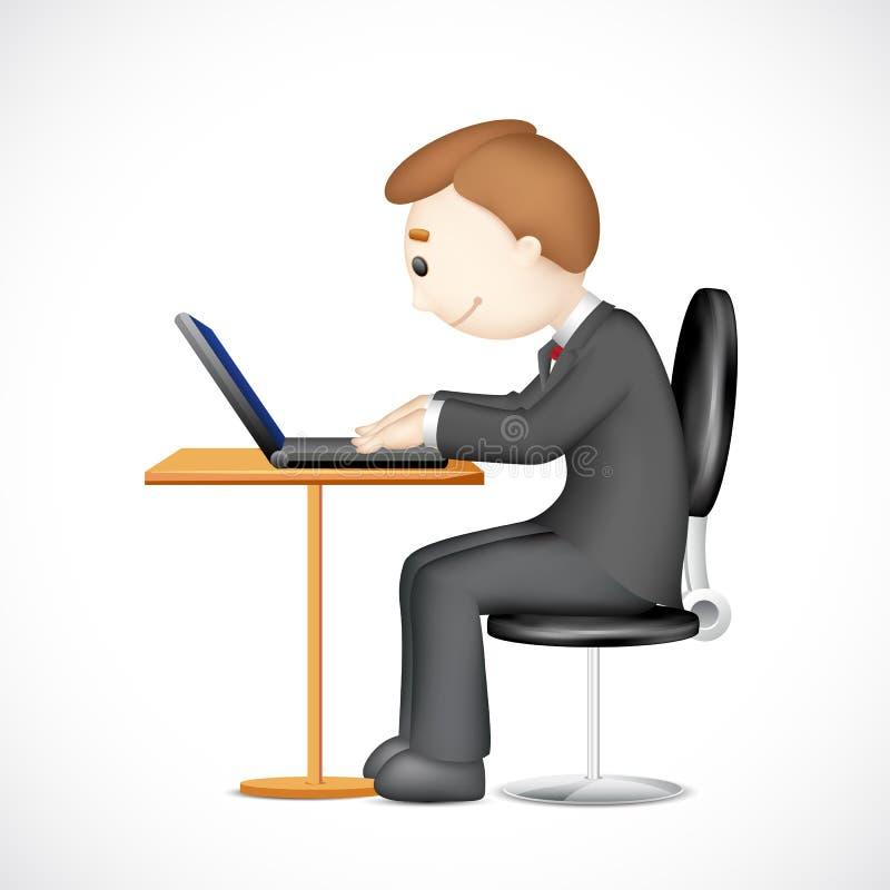 3d Mens die aan Laptop werkt stock illustratie