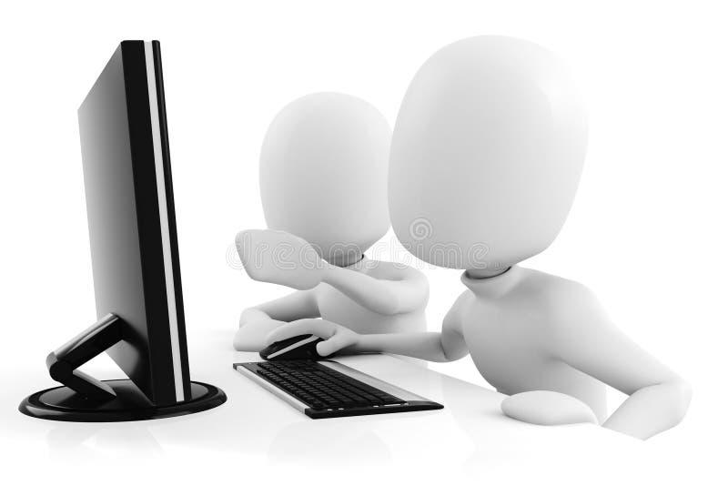3d mens, die bij computer werkt stock illustratie