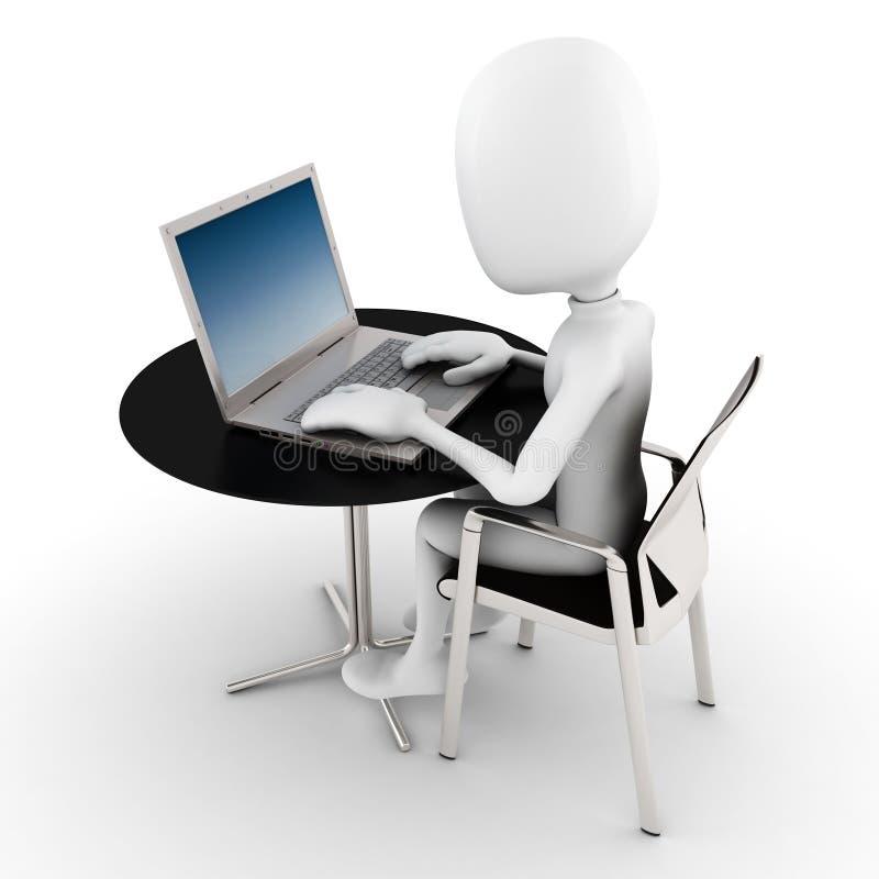 3d mens die bij zijn laptop werkt vector illustratie