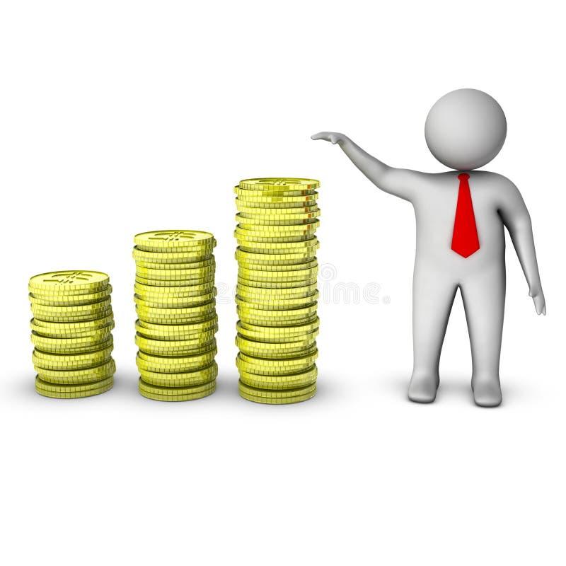 3d mens die de groei in geld toont royalty-vrije illustratie