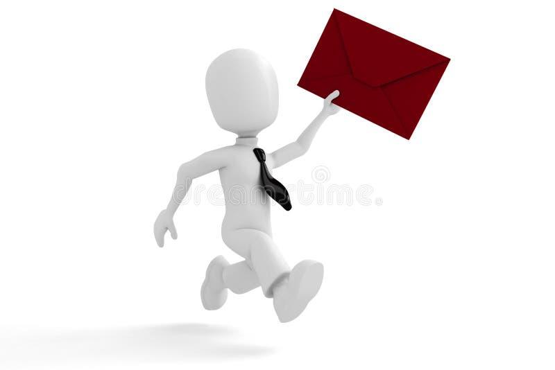 3d mens die de post levert stock illustratie