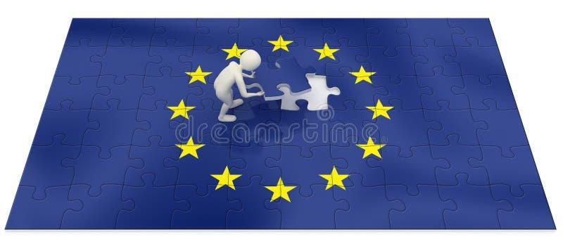 3d mens die de vlagraadsel beëindigt van de Europese Unie vector illustratie