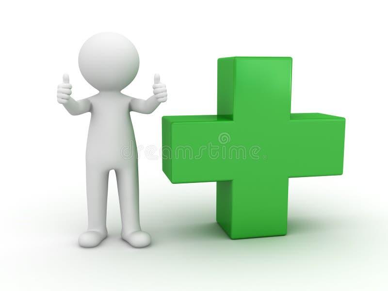 3d mens die duimen met groen toont plus stock illustratie