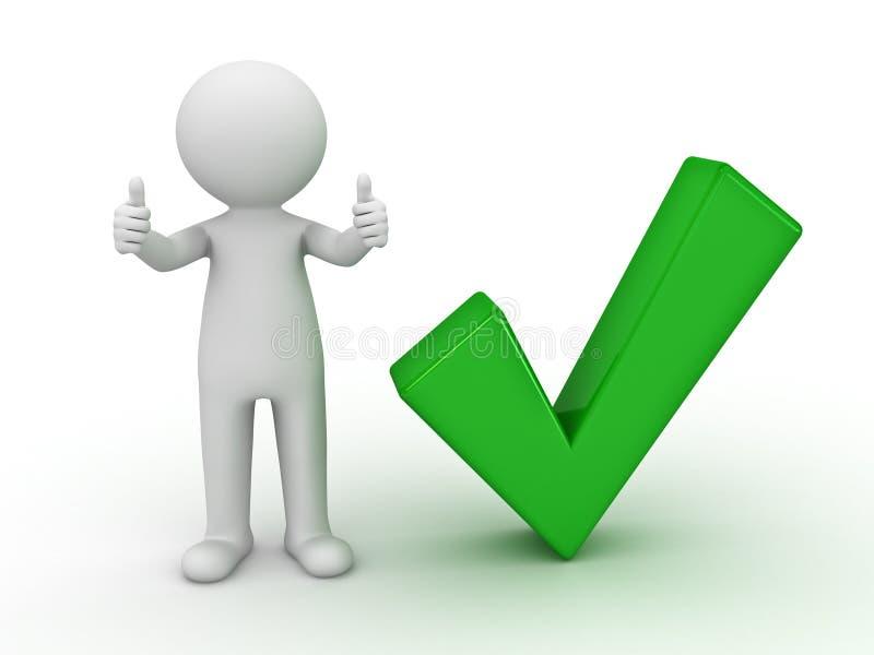 3d mens die duimen met groen vinkje toont vector illustratie