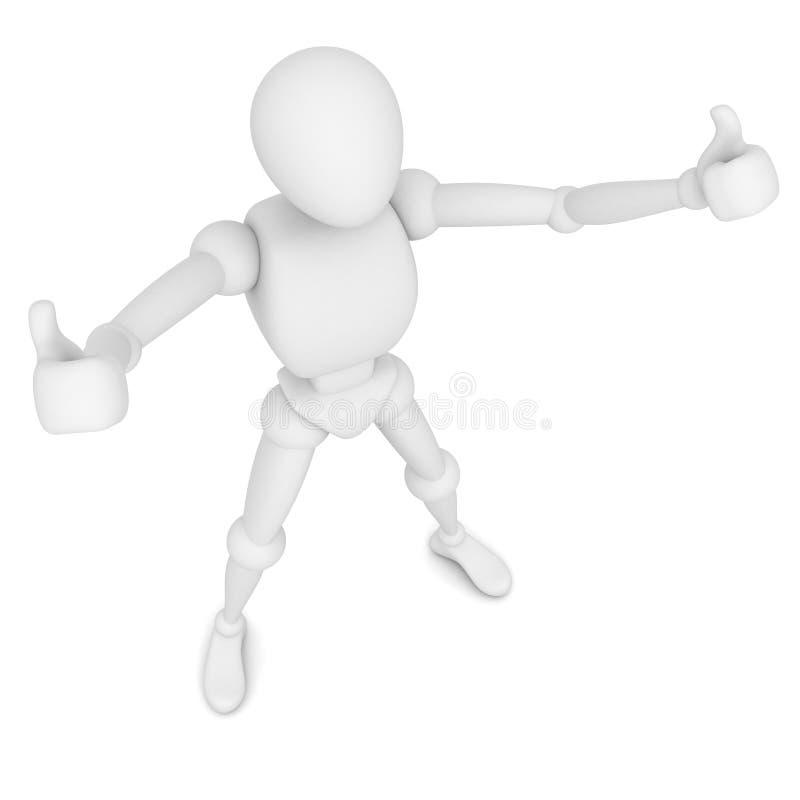 3d mens die duimen op witte achtergrond tonen vector illustratie