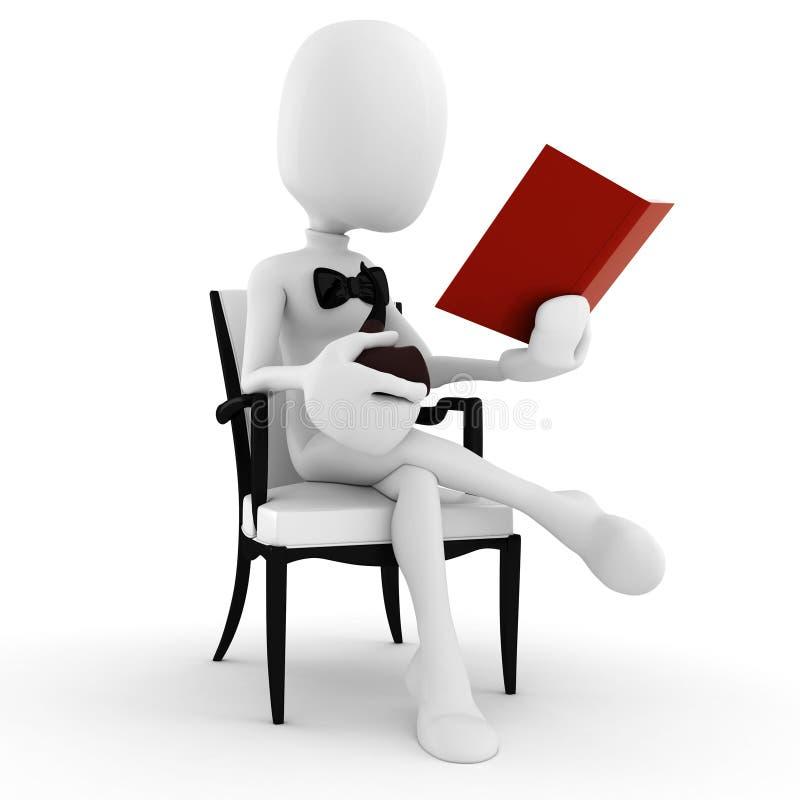 3d mens die een boek leest en pijp rookt royalty-vrije illustratie