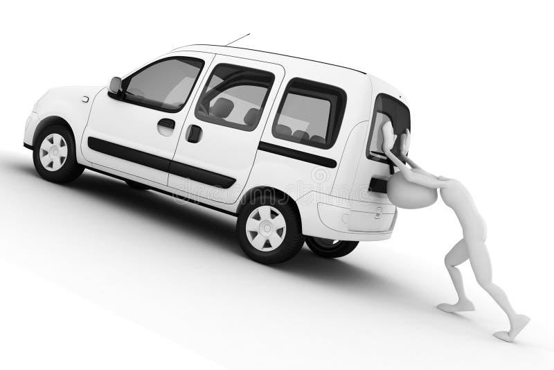 3d mens die een gebroken auto duwt stock illustratie