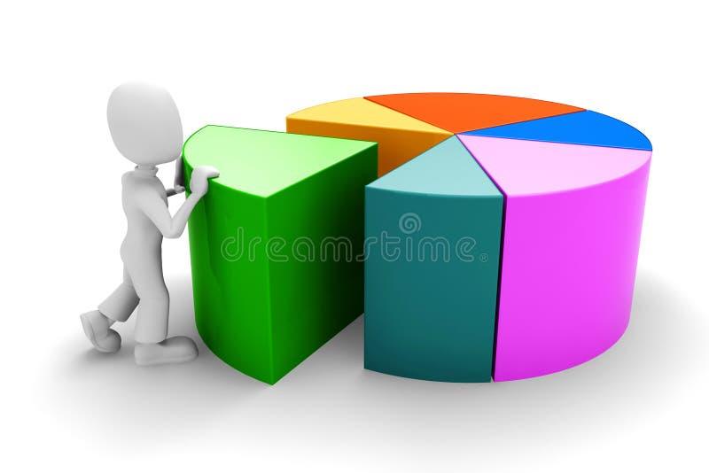 3d mens die - een grafiek duwt stock illustratie