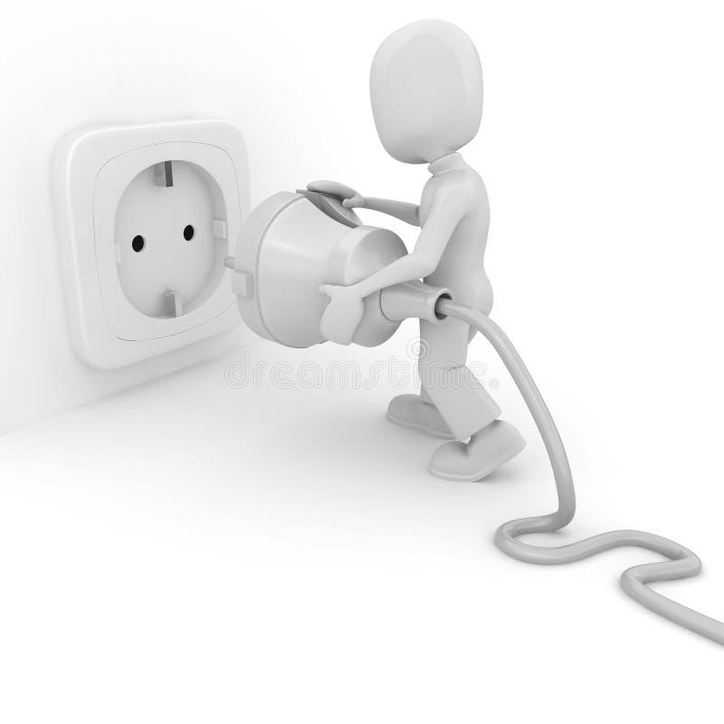 3d mens die een kabel verbindt, die op wit wordt geïsoleerdc royalty-vrije illustratie