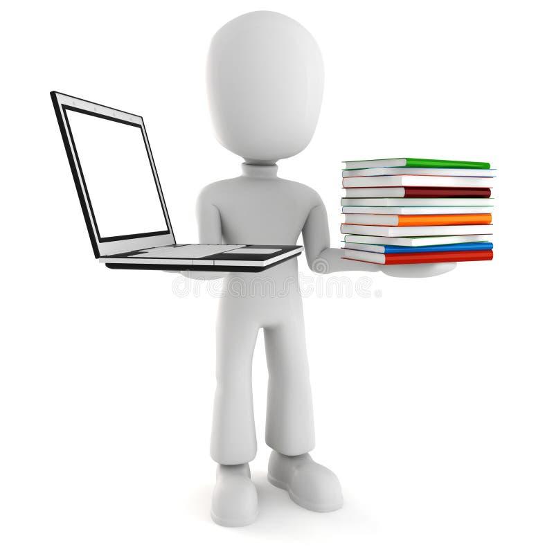 3d mens die een laptopp en boeken houdt vector illustratie