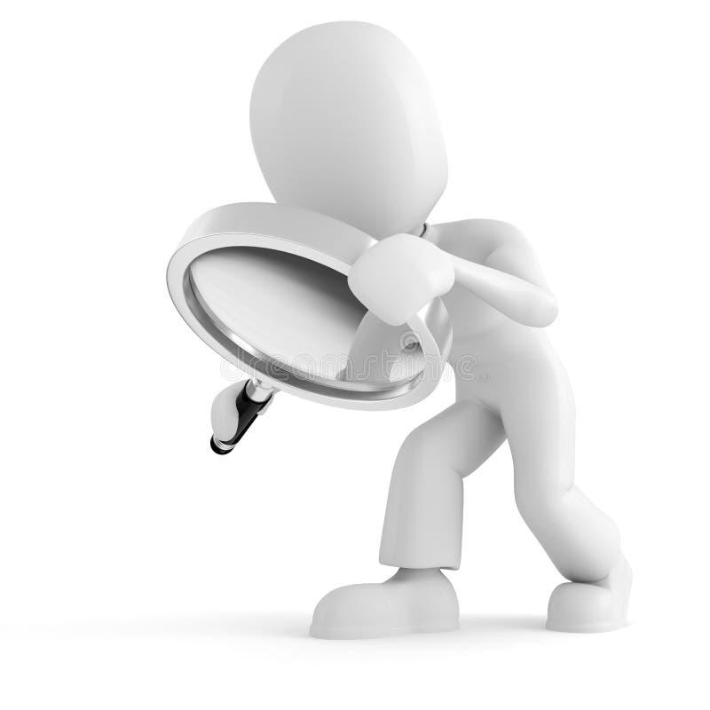 3d mens die een meer magnifier glas houdt dat op wit wordt geïsoleerds royalty-vrije illustratie