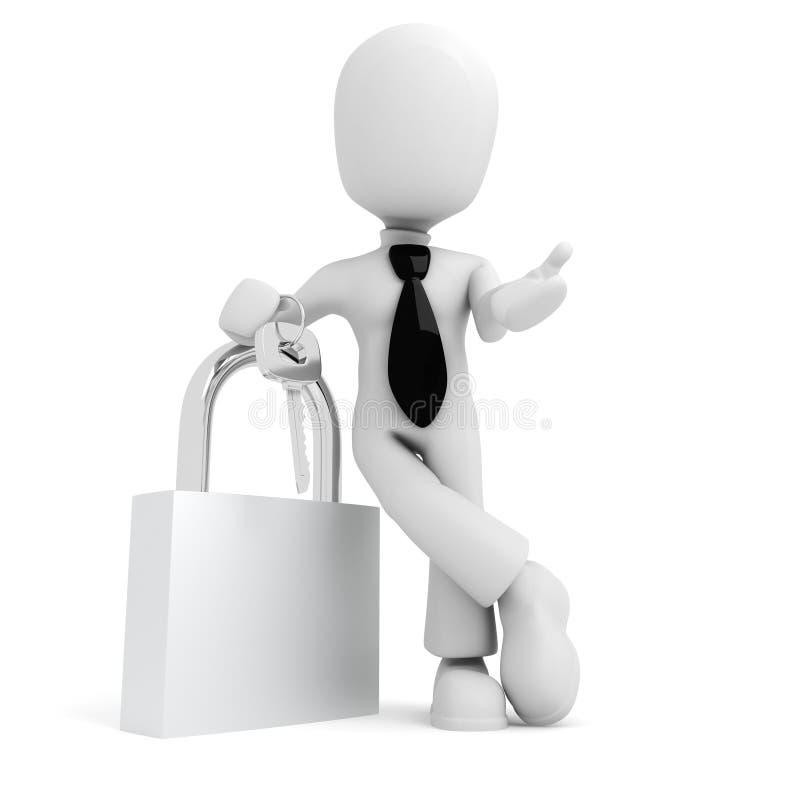 3d mens die een sleutel houdt die op wit wordt geïsoleerd royalty-vrije illustratie