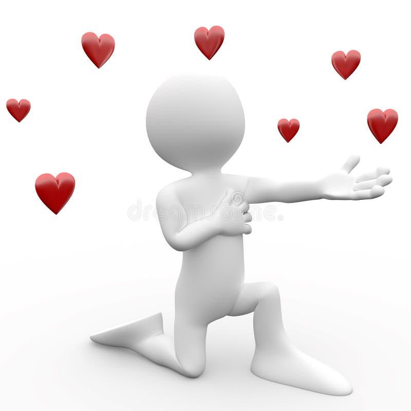3D mens die een verklaring van liefde aflegt stock illustratie