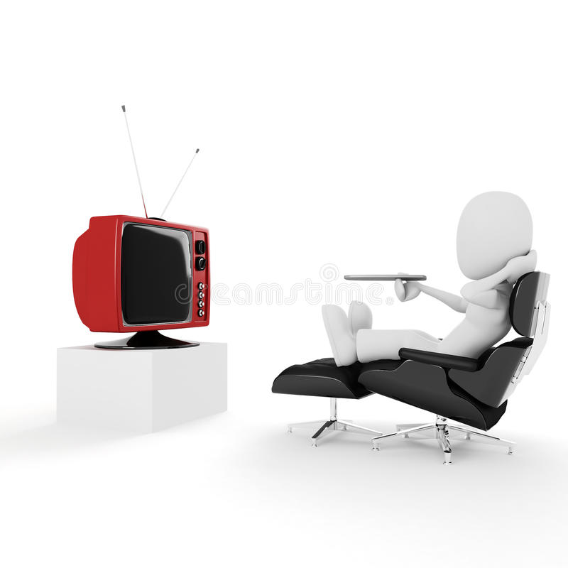 3d mens die en op TV, studio ontspant let geeft terug royalty-vrije illustratie