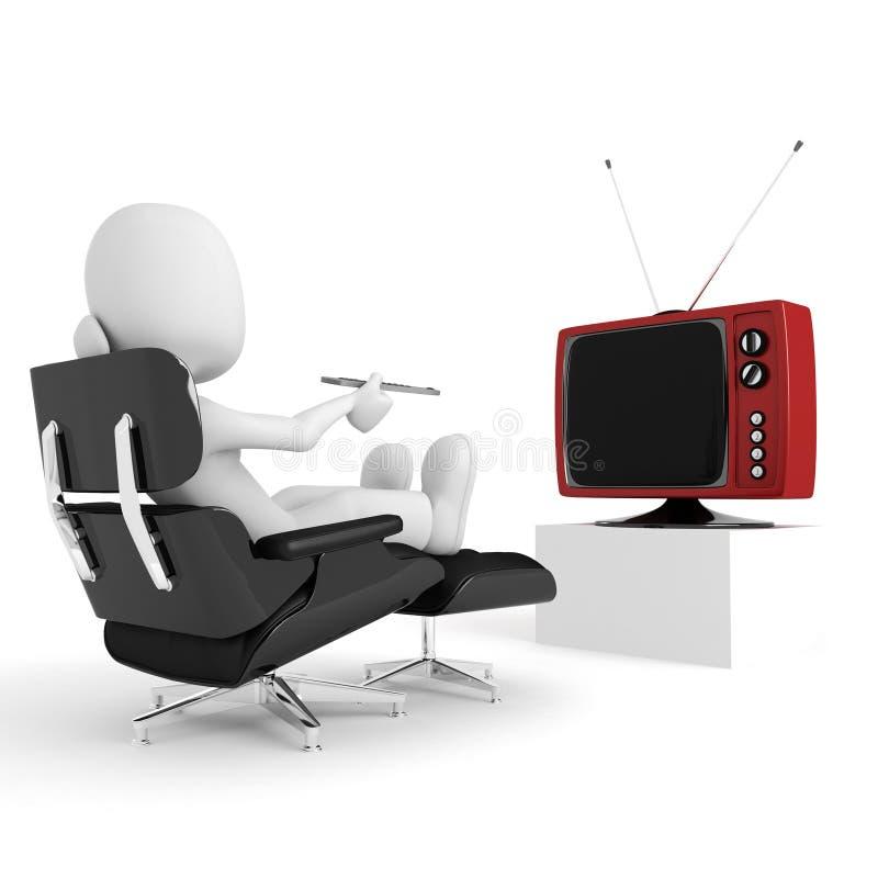 3d mens die en op TV, studio ontspant let geeft terug stock illustratie