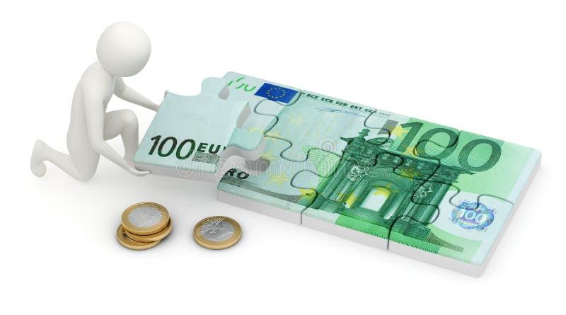 3d mens die euro raadsel assembleert stock illustratie