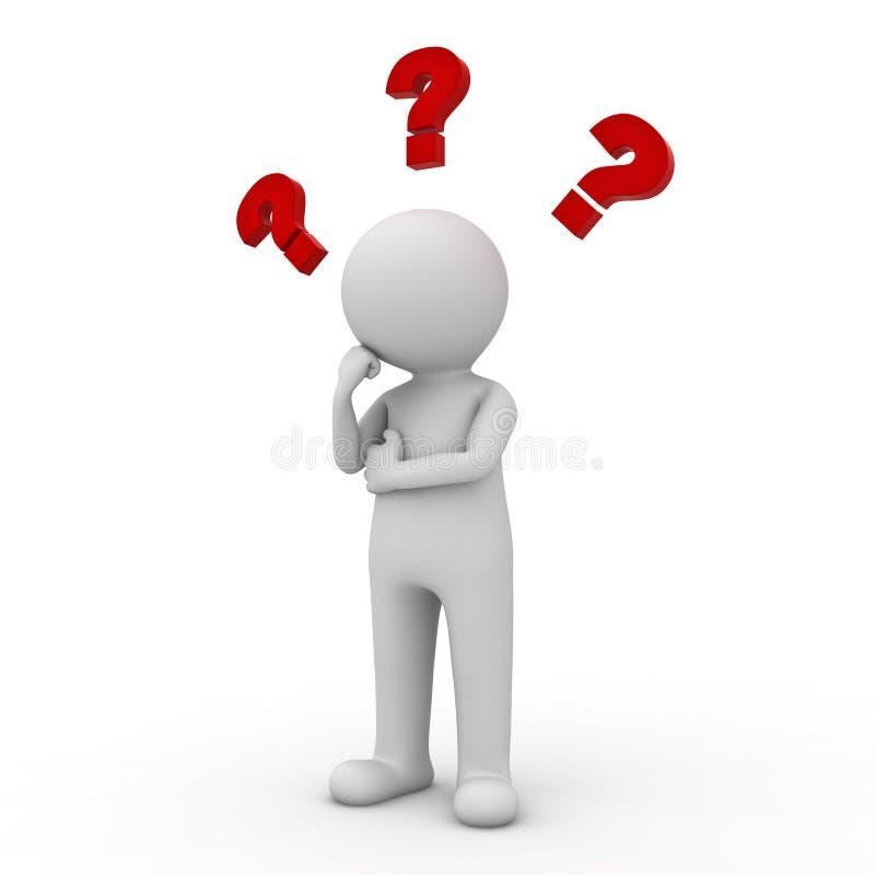 3d mens die met rode vraagtekens boven zijn hoofd denken vector illustratie