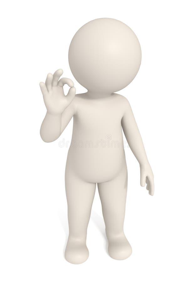 3d mens die O.K. teken toont vector illustratie