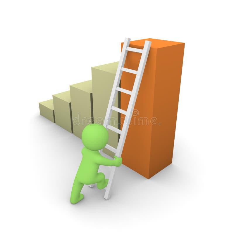3d mens die op de bovenkant van kolomdiagram beklimt stock illustratie