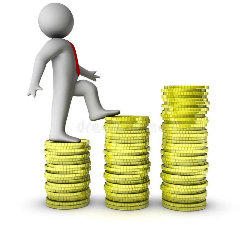 3d mens die op de groei van dollarmuntstukken loopt stock illustratie