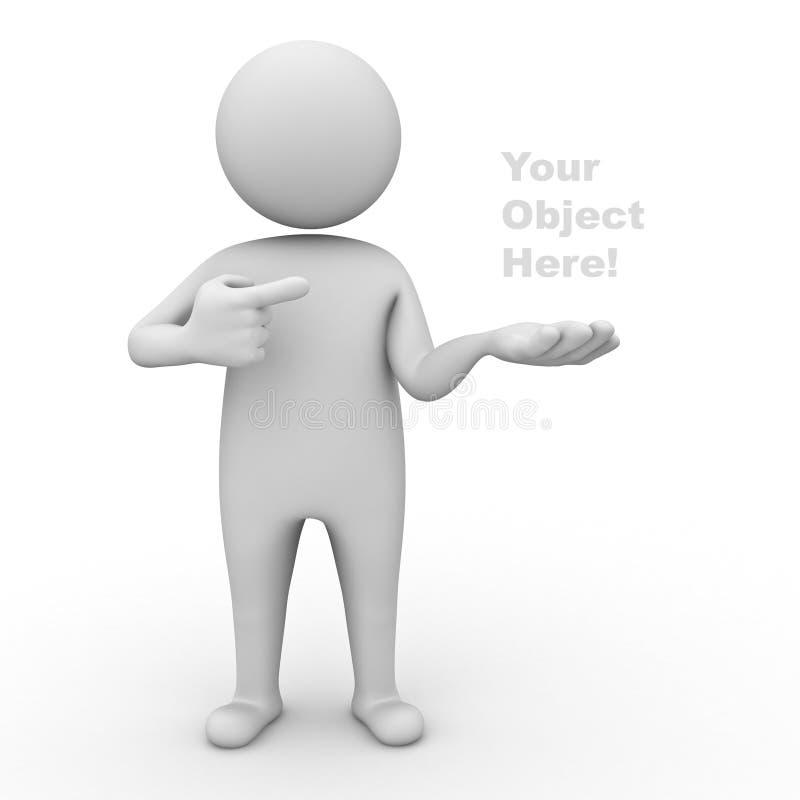 3d mens die uw product voorstelt stock illustratie