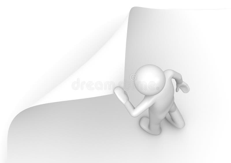 3d mens draait pagina stock illustratie