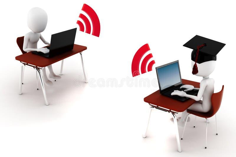 3d mens e -e-learningm die op wit wordt geïsoleerd? vector illustratie