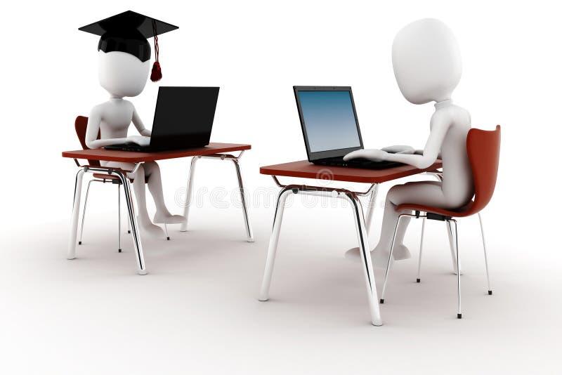 3d mens e -e-learningm die op wit wordt geïsoleerdn stock illustratie