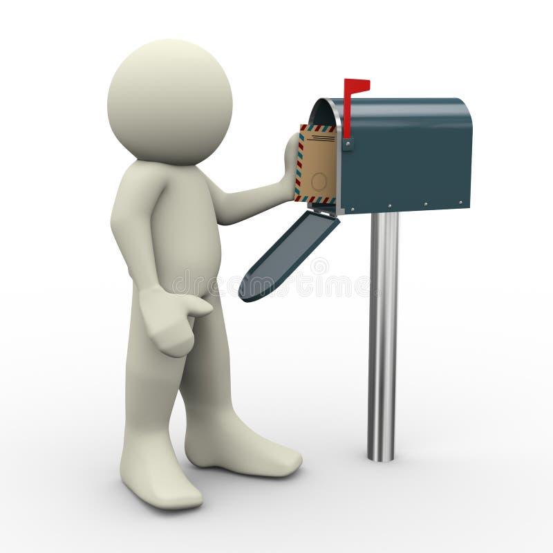 3d mens en brievenbus vector illustratie