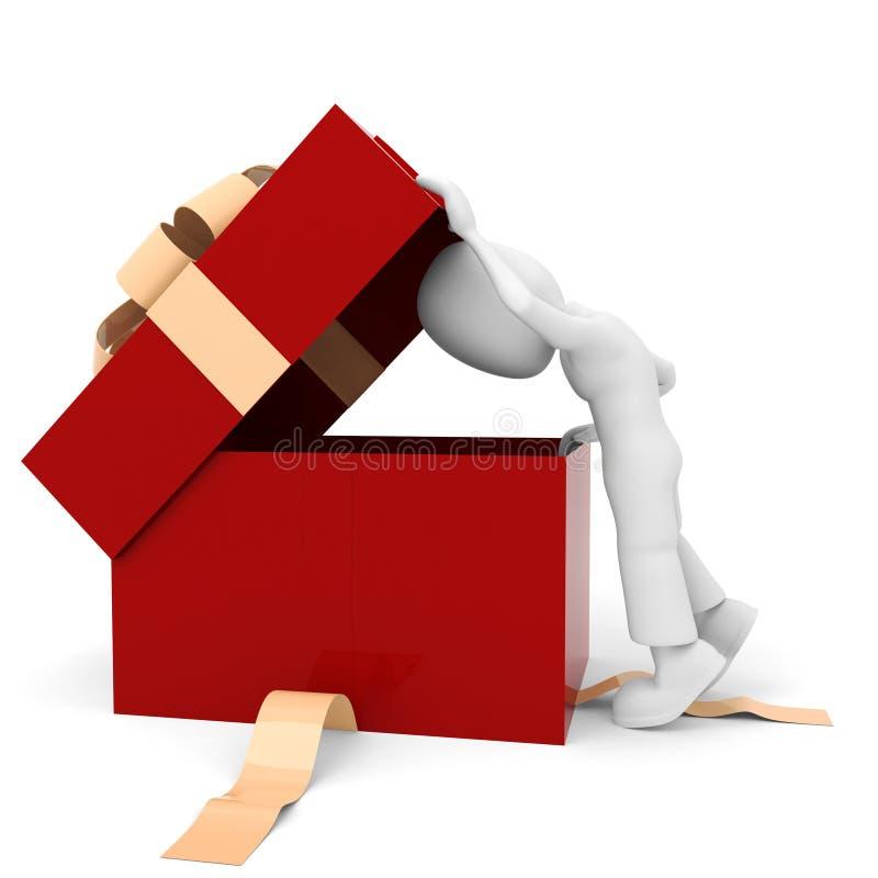3d mens en een huidige doos vector illustratie