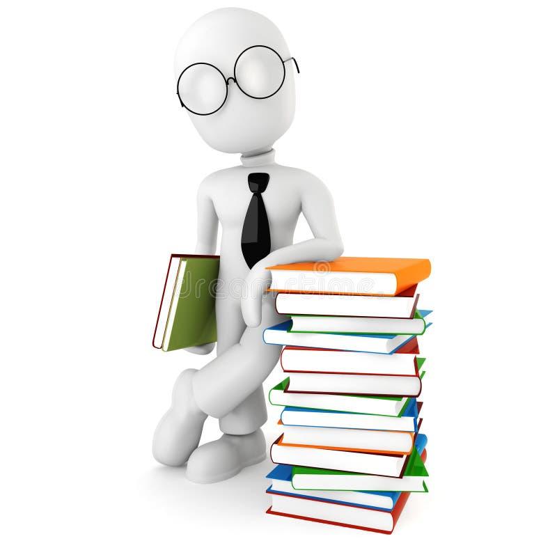 3d mens en sommige boeken vector illustratie