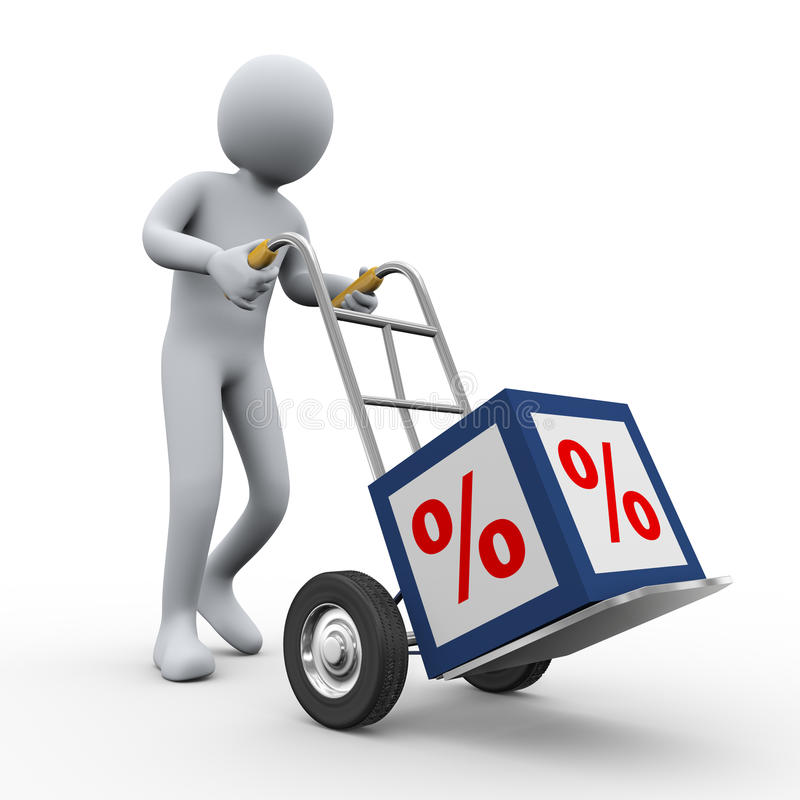 3d mens het duwen percenten kuberen karretje royalty-vrije illustratie