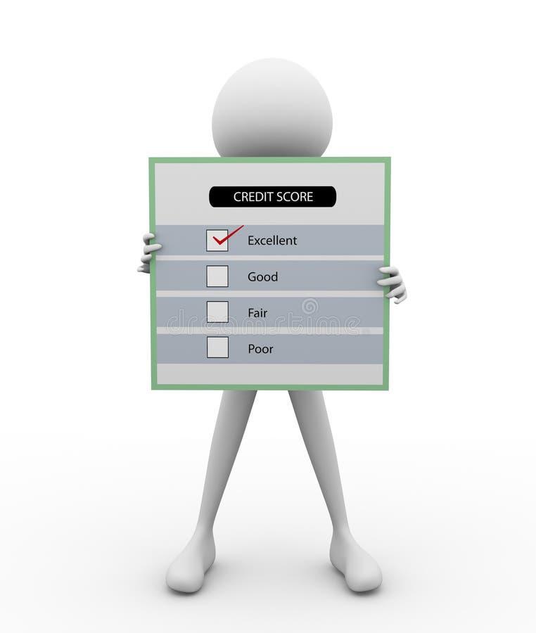 3D mens met de Score van het Krediet vector illustratie