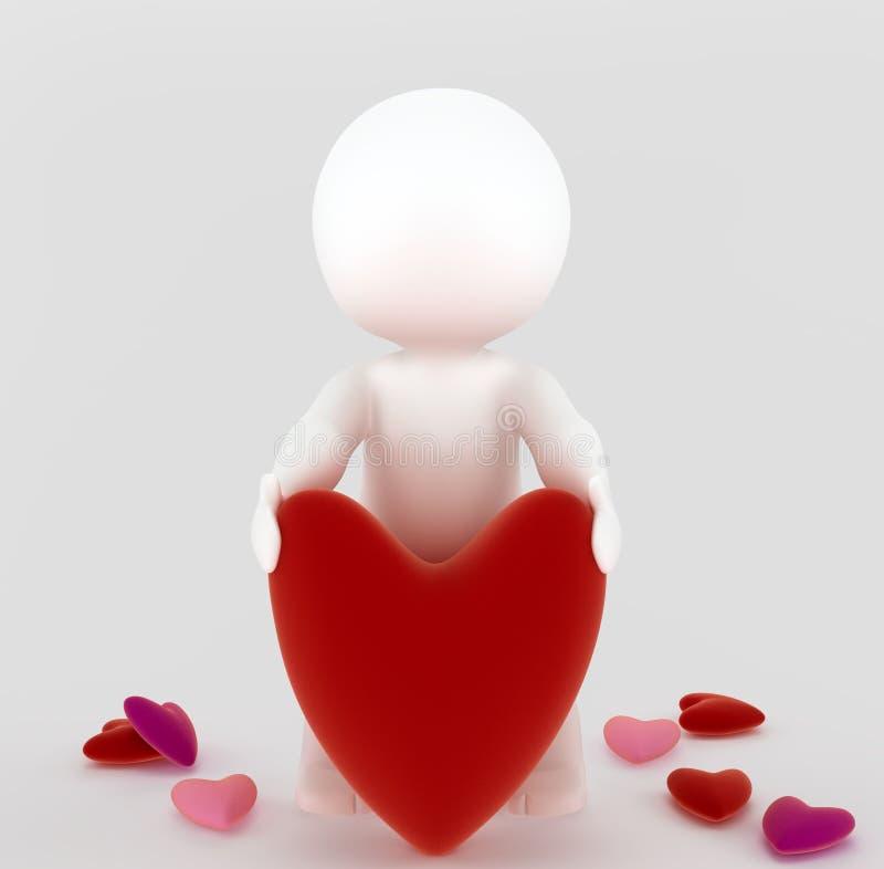 3d mens met een groot hart stock illustratie