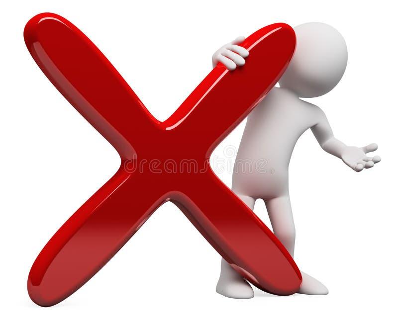 3D mens met een reusachtig rood kruis vector illustratie